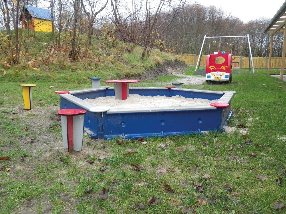Køb Sekskantet sandkasse t/nedgr. Blå online - Legeplads