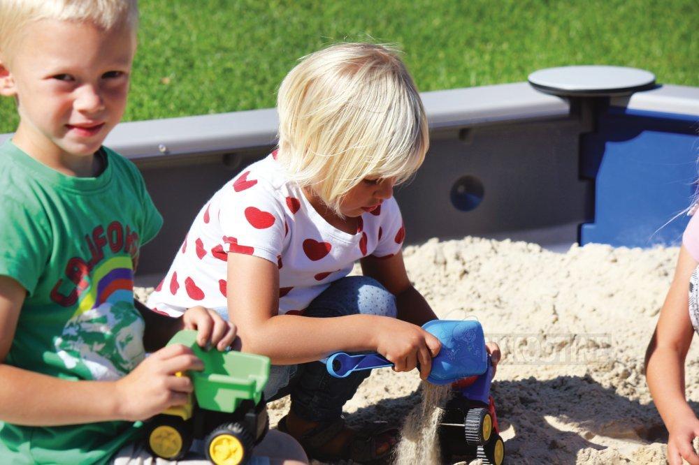 Køb Sekskantet sandkasse t/nedgr. Blå/Grå online - Sandkasser & tilbehør