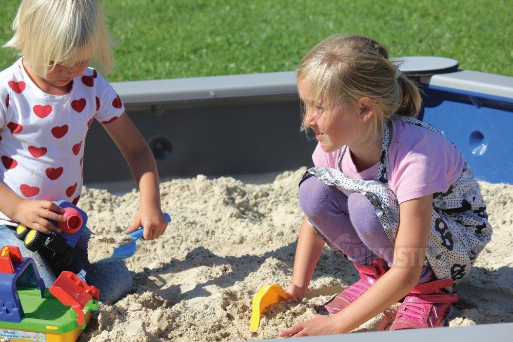 Køb Sekskantet sandkasse t/beton, Blå/Grå online - Sandkasser & tilbehør