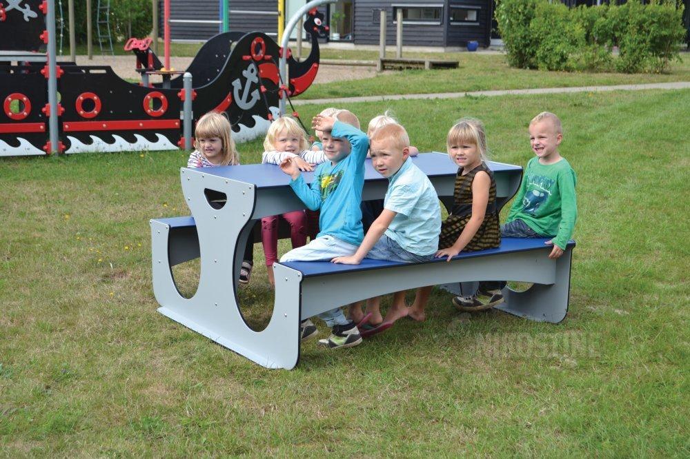 Køb bord/bænk   børn grå/mblå online   udemøbler