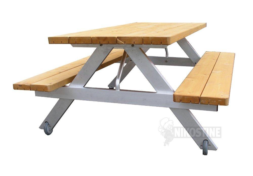 Køb bænkebord mobilt   fyrretræ på alustel online   udemøbler