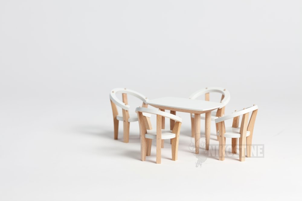 Køb dukkehus møbler, spisestue, 5 dele online   dukker & tilbehør